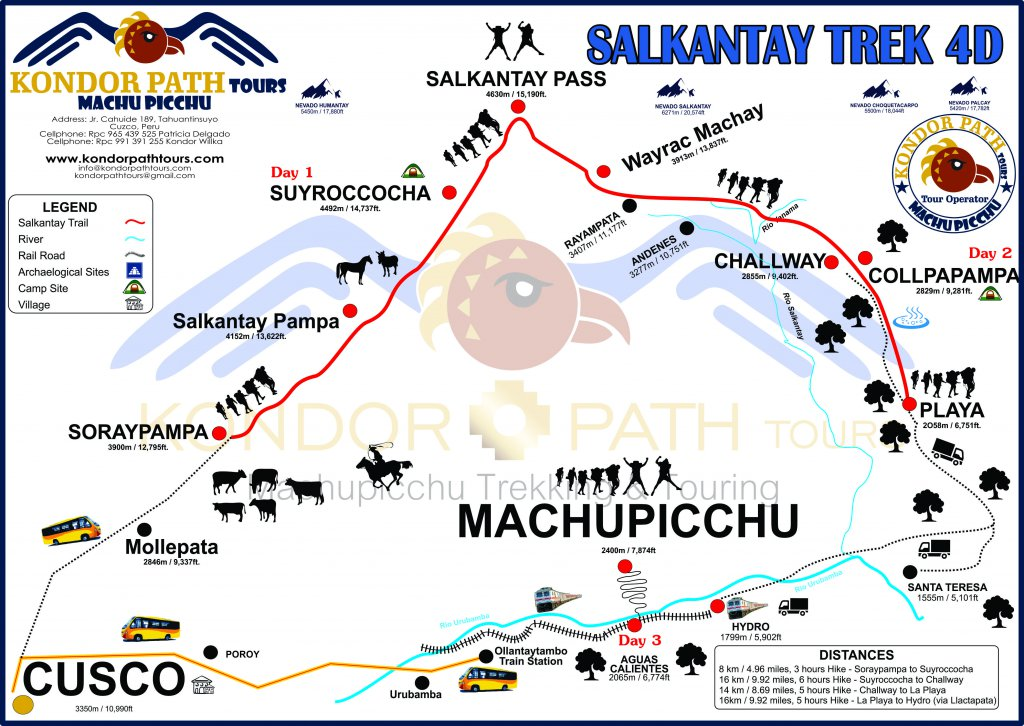 4 days and 3 night salkantay trail to machu picchu map