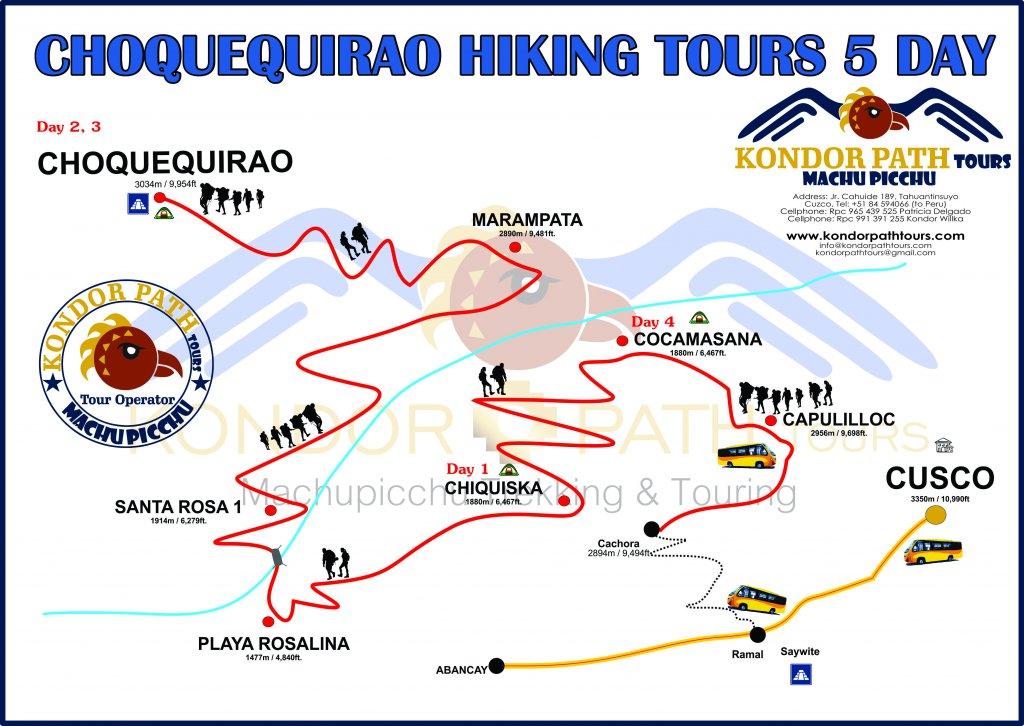 choquequirao hiking tours 5 day map