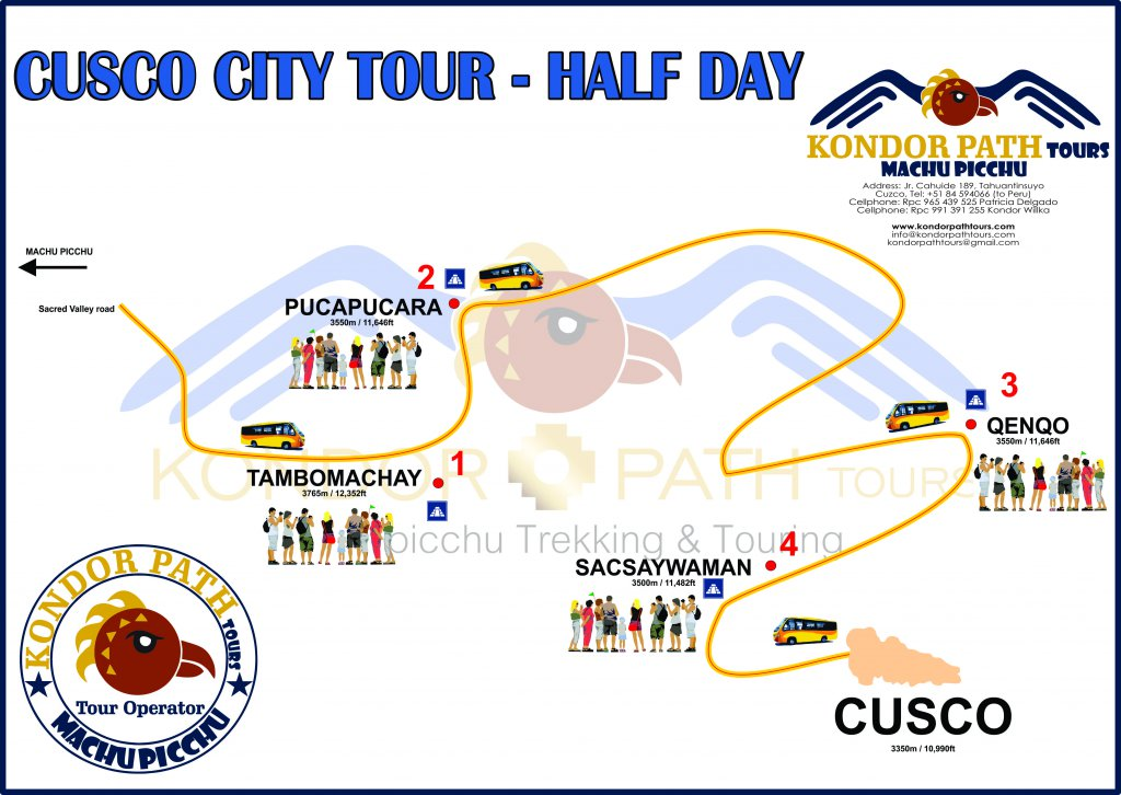 cusco city tour half day map by kondor