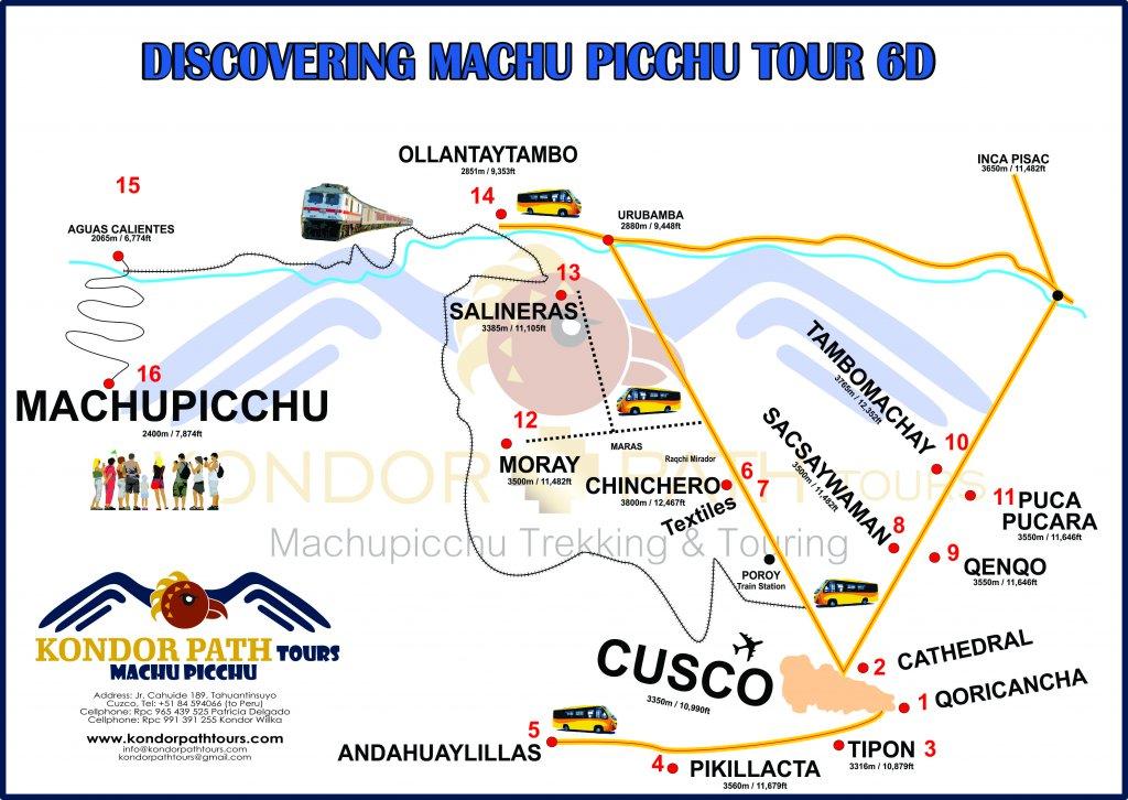discovering machu picchu tour 6 day map