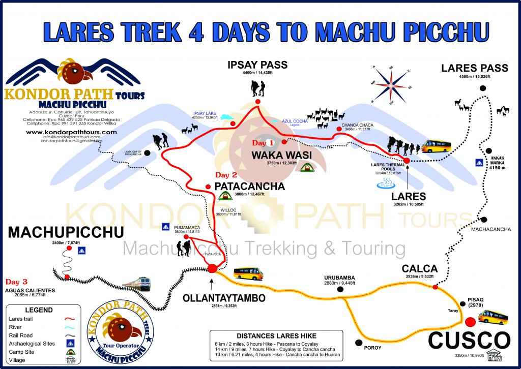 lares trek 4 days to machu picchu map