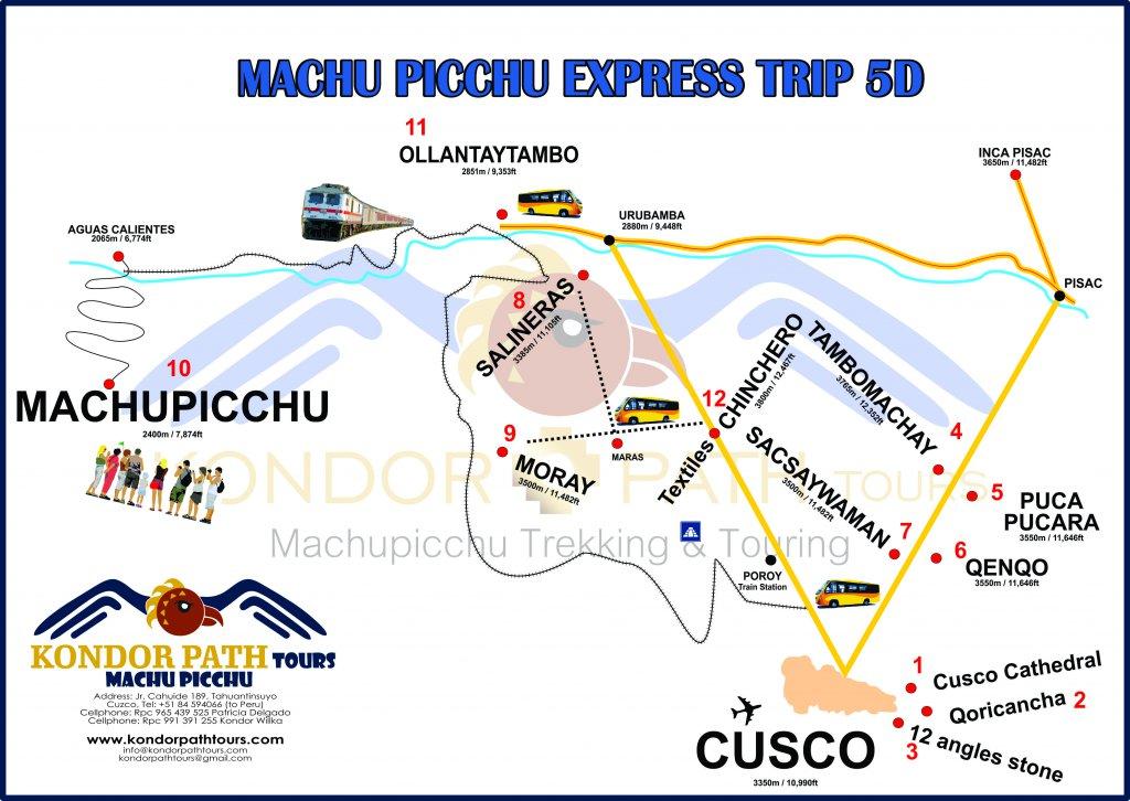 machu picchu express trip 5 day map