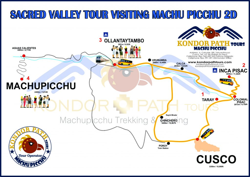 sacred valley tour visiting machu picchu 2 day map
