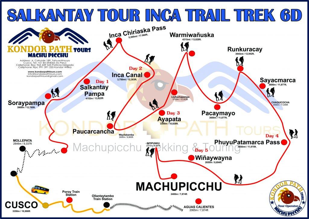 salkantay tour inca trail trek 6 days map