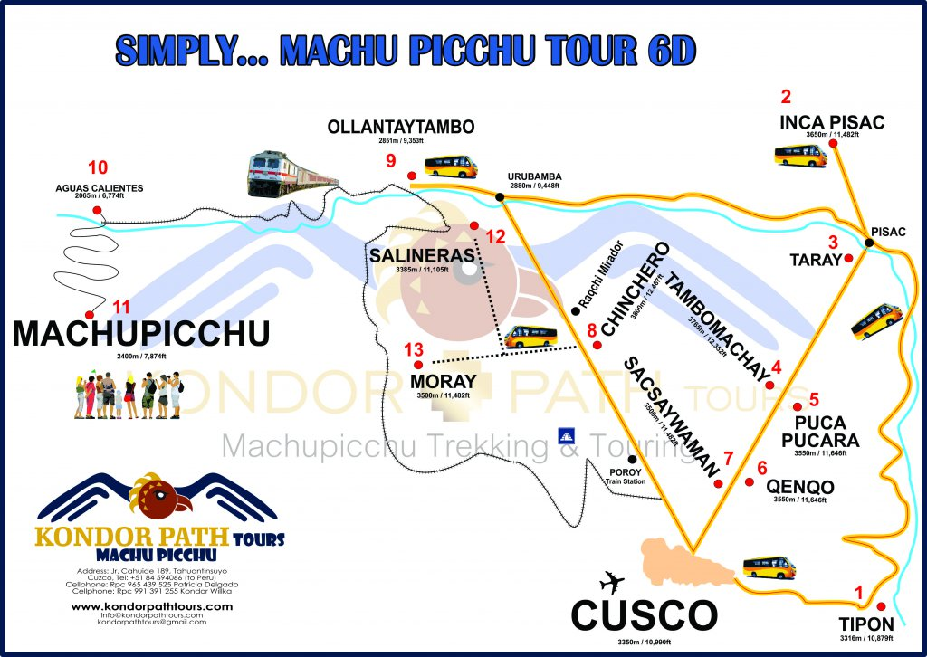 simply machu picchu tour 6 day map
