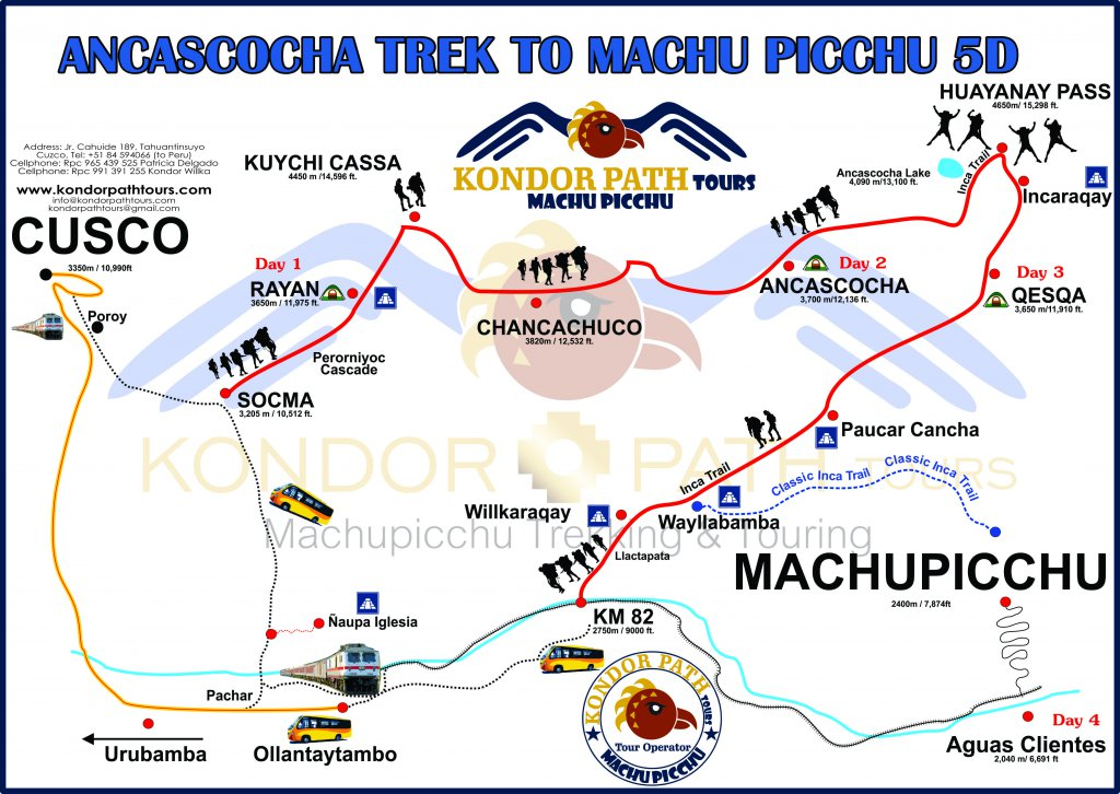 ancascocha trek to machu picchu 5 days map