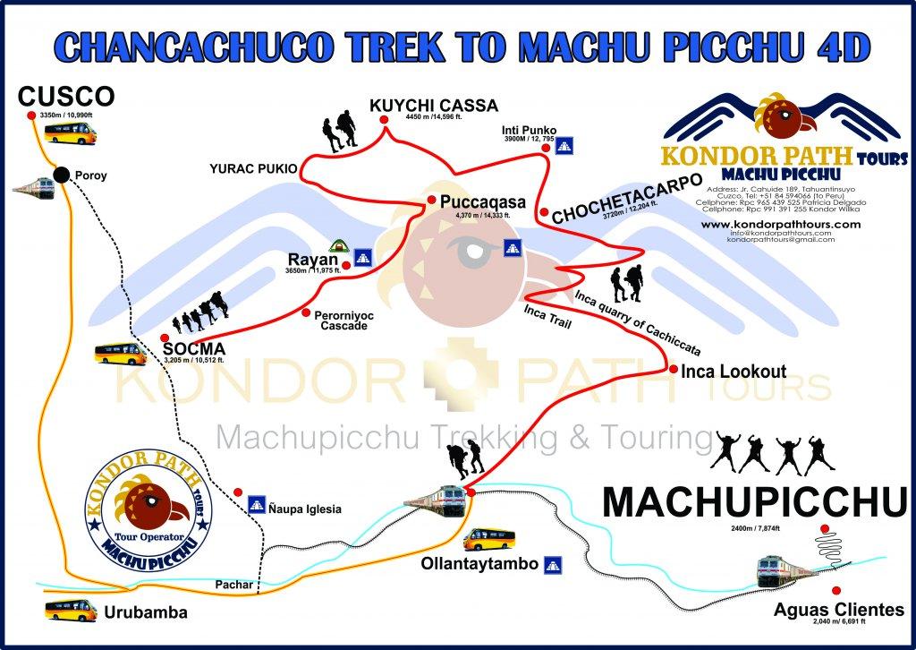 chancachuco trek to machu picchu 4 day map