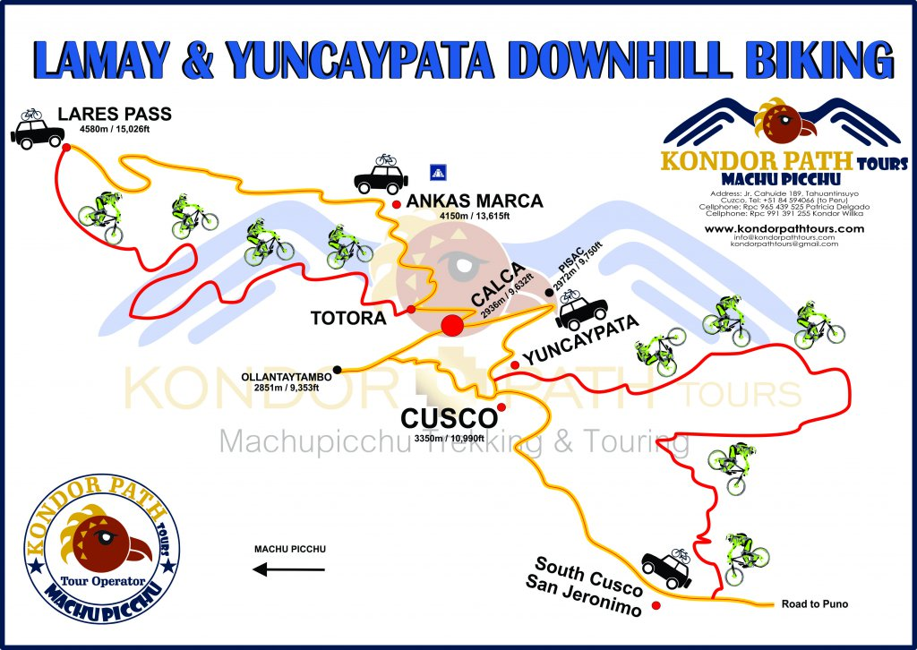 lamay and yuncaypata downhill biking 1 day map