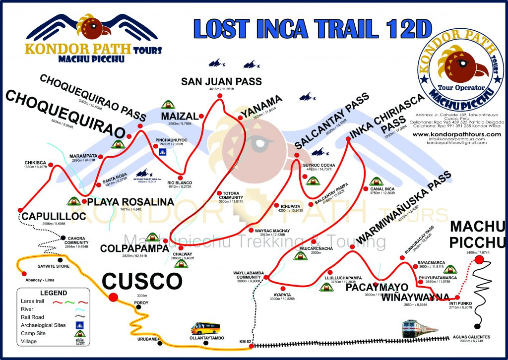 lost inca trail 12 day map