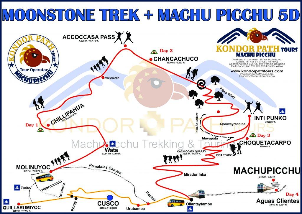 moonstone trek to machu picchu 5 day map