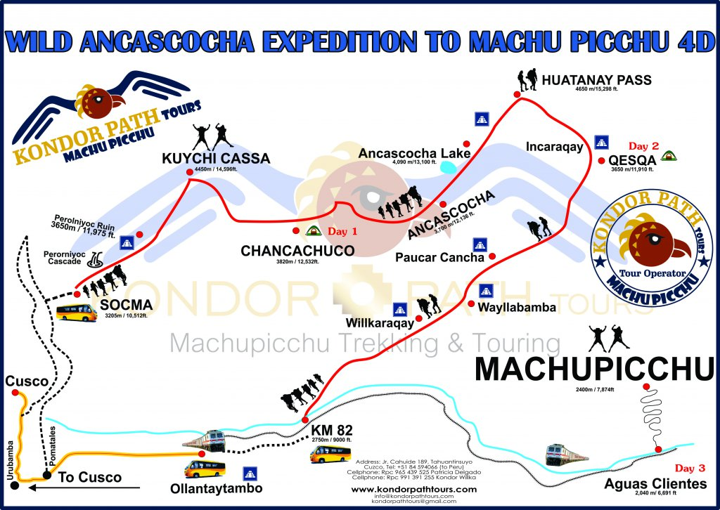 wild ancascocha expedition to machu picchu 4 day map