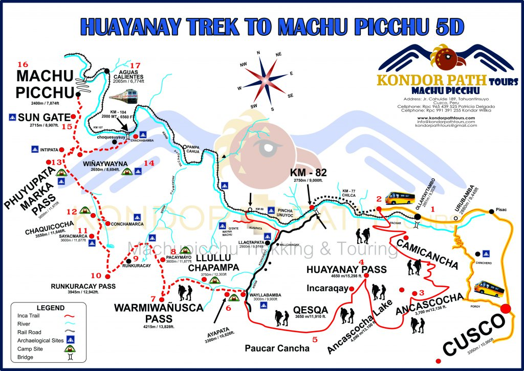 huayanay trek to machu picchu 5 day map